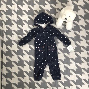 NWT Navy Fleece Hooded Suit